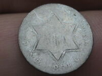 1854 THREE 3 CENT SILVER TRIME- TYPE 2, HEAVILY WORN, LOWBALL