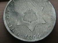 1854 THREE 3 CENT SILVER TRIME- TYPE 2, GOOD DETAILS