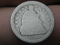 1840-O SEATED LIBERTY HALF DIME WITH DRAPERY,  KEY DATE