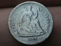 1866 SEATED LIBERTY HALF DIME- VG OBVERSE DETAILS