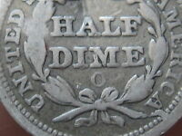 1855-O SEATED LIBERTY HALF DIME WITH ARROWS- FINE DETAILS- V2- REVERSE DIE CUD