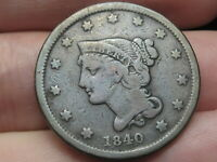 1840 BRAIDED HAIR LARGE CENT PENNY, FINE DETAILS, SMALL DATE, FULL RIMS
