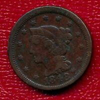 1848 BRAIDED HAIR LARGE COPPER CENT LY CIRCULATED SHIPS FREE