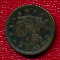 1853 BRAIDED HAIR LARGE COPPER CENT LY CIRCULATED SHIPS FREE