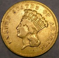 1856 S LIBERTY HEAD $3 GOLD PIECE THREE DOLLARS CIRCULATED A