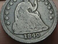 1840 P SEATED LIBERTY HALF DIME- WITH DRAPERY, VG/FINE DETAILS
