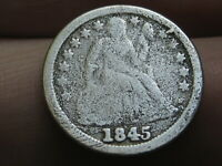 1845 P SEATED LIBERTY SILVER DIME