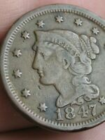 1847 BRAIDED HAIR LARGE CENT PENNY- VF DETAILS