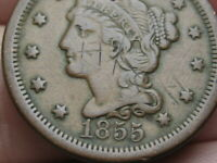1855 BRAIDED HAIR LARGE CENT PENNY- UPRIGHT 5S, VF DETAILS