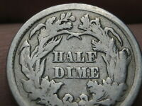 1865 SEATED LIBERTY HALF DIME- GOOD DETAILS