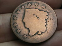 1833 MATRON HEAD LARGE CENT PENNY- ROTATED REVERSE MINT ERROR