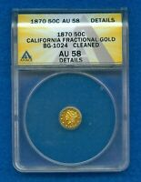 1870 CALIFORNIA FRACTIONAL GOLD 50 CENTS BG-1024 ANACS AU58 DETAILS -CLEANED