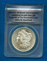 1880-S MORGAN SILVER DOLLAR LEGENDS OF THE COMSTOCK LODE ANACS CERTIFIED BU