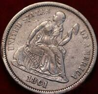 1861 SILVER PHILADELPHIA MINT SEATED LIBERTY DIME