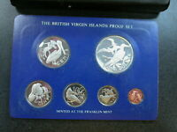 BRITISH VIRGIN ISLANDS 1975 6 COIN PROOF SET WITH SILVER