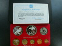PAPUA NEW GUINEA 1976 8 COIN PROOF SET WITH SILVER & COA