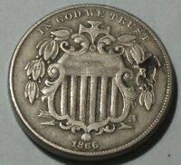 1866 SHIELD NICKEL WITH RAYS VARIETY  TYPE COIN DETAILS READ DESCRIPTION