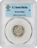 1875 5C PCGS PR 65 EX: D.L. HANSEN -  PROOF - SHIELD NICKEL -  PROOF