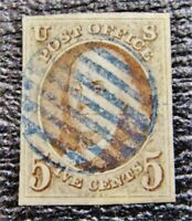 NYSTAMPS US STAMP  1A USED $840 BLUE CANCEL