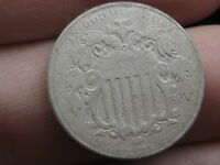 1873 SHIELD NICKEL 5 CENT PIECE- LOWER MINTAGE DATE