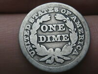 1856 P SEATED LIBERTY SILVER DIME- SMALL DATE, GOOD DETAILS