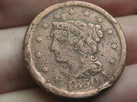 1850 BRAIDED HAIR LARGE CENT PENNY, FINE DETAILS