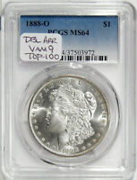 1888-O $1 PCGS MINT STATE 64 VAM 9 DBL ARROWS  SEMI-PROOFLIKE TOP 100 MORGAN DOLLAR