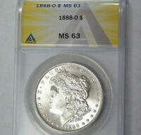 ANACS MINT STATE 63 1888-O MORGAN SILVER DOLLAR NEW ORLEANS MINT CHOICE UNCIRCULATED