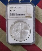 2007 AMERICAN SILVER EAGLE DOLLAR ASE $1 NGC MINT STATE 69 BEAUTY - BINO