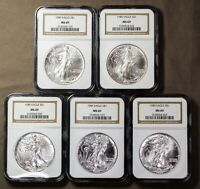 LOT OF FIVE NGC 1989 MINT STATE 69 AMERICAN .999 SILVER EAGLE ONE DOLLAR COIN S$1 US MINT