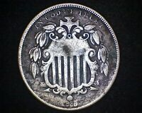 1868 SHIELD NICKEL 19607
