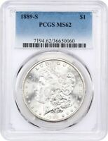 1889-S $1 PCGS MINT STATE 62 - FLASHY - MORGAN SILVER DOLLAR - FLASHY