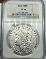 1893-CC NGC VF20 MORGAN SILVER DOLLAR ALL WHITE COIN KEY DATE