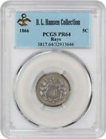 1866 5C PCGS PR 64 WITH RAYS EX: D.L. HANSEN -  TYPE COIN