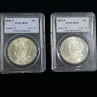 LOT OF 2 MORGAN SILVER DOLLARS PCGS MINT STATE 65 - 1881 S, 1882 S