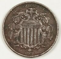 1867 SHIELD NICKEL.  WITH RAYS.  X.F. DETAIL.  145065
