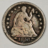 1853-O LIBERTY SEATED HALF DIME.  NATURAL UNCLEANED.  V.G.  145062