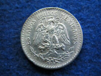 1937 MEXICO SILVER 50 CENTAVOS -  LT. TONED EXTRA FINE - FREE U S SHIPPING