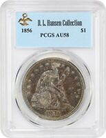 1856 $1 PCGS AU58 EX: D.L. HANSEN - COLORFUL TONING - LIBERTY SEATED DOLLAR
