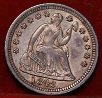 1842 PHILADELPHIA MINT SILVER SEATED LIBERTY HALF DIME