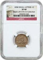 1858 FLYING EAGLE 1C NGC EXTRA FINE 40 SMALL LETTERS BETTER VARIETY & GREAT TYPE COIN