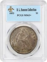 1853 $1 PCGS MINT STATE 63 EX: D.L. HANSEN - LIBERTY SEATED DOLLAR -  TYPE COIN