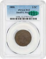1806 1/2C PCGS/CAC F12 SMALL 6, STEMS - DRAPED BUST HALF CENTS 1800-1808
