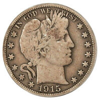 1915 50C ICG F 12  LOW MINTAGE BARBER HALF DOLLAR