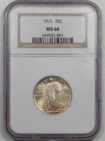 1921 STANDING LIBERTY QUARTER NGC MINT STATE 66 PREMIUM QUALITY