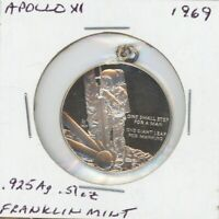 APOLLO XI MOON MISSION MEDAL STERLING SILVER FRANKLIN MINT