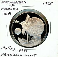 SPACE MEDAL   POSTMASTERS OF AMERICA 8 .925 SILVER PROOF FRANKLIN MINT