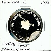 SPACE MEDAL   PIONEER X .925 SILVER PROOF FRANKLIN MINT