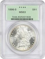 1896-S $1 PCGS MINT STATE 63 OGH OLD GREEN LABEL HOLDER - MORGAN SILVER DOLLAR