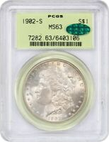 1902-S $1 PCGS/CAC MINT STATE 63 OGH - OLD GREEN LABEL HOLDER - OLD GREEN LABEL HOLDER